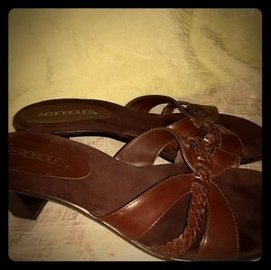 Aerosoles brown leather heeled sandals size 8
